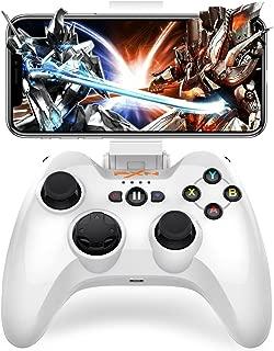 iPhone MFi Bluetooth コントローラー Dinofire 専属無料APPあり Apple認証 ios コントローラー Tello iPhone iPad iPod 対応 ゲームパッド PUBGに非対応(白)