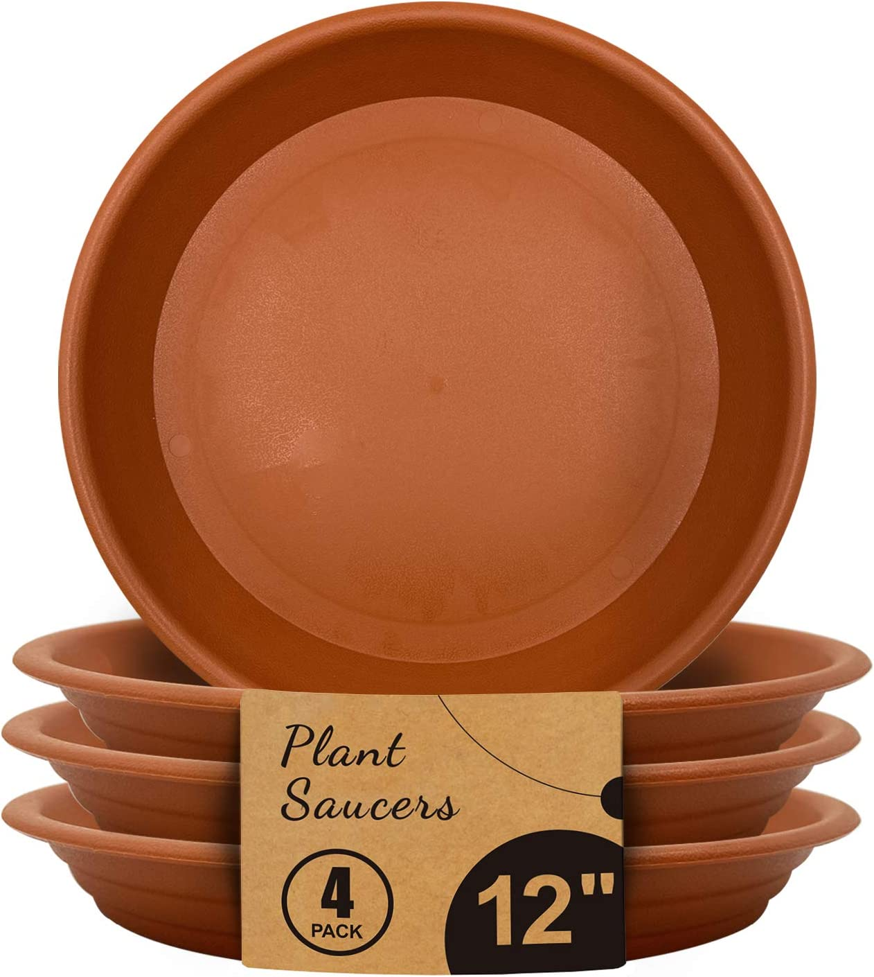 Jantens Plant Saucers - 4 Pack of 12 inch - Durable Thicker Plastic Plant Tray Flower Pot Saucers for Outdoors Indoors Flower Pots and Planters, Terracotta
