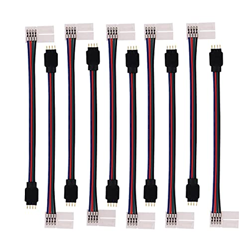 icreating 10pcs led 5050 rgb strip light connector 4 pin conductor 10 mm  wide strip to