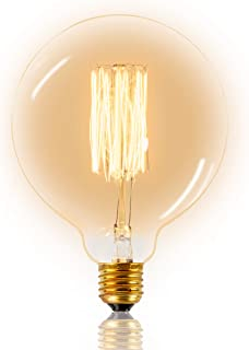 Mr. Classic Bombilla vintage, bombilla Edison retro, filamento de ardilla, decorativa, nostálgica, G125 mm, iluminación clásica ideal para un ambiente acogedor, luz blanca cálida, 40 W