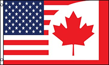 USA Canada Combination Flag 3x5ft Poly