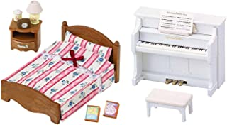 Calico Critters Two Unique Toys Together - Piano & Semi-Double Bed (Japan Import)