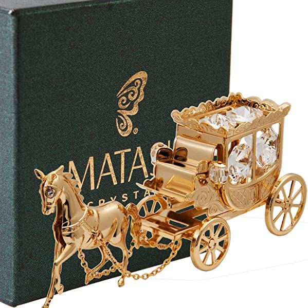 24K Gold Plated Crystal Studded Horse Drawn Carriage Ornament By Matashi