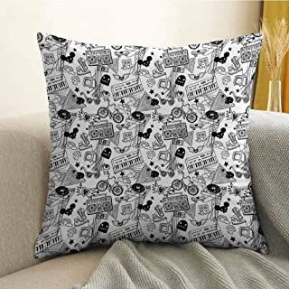 FreeKite Black and White Bedding Soft Pillowcase Punk Teenage Pattern Cassette Keyboard Ghost Heart and Boombox Doodle Hypoallergenic Pillowcase W24 x L24 Inch Black White