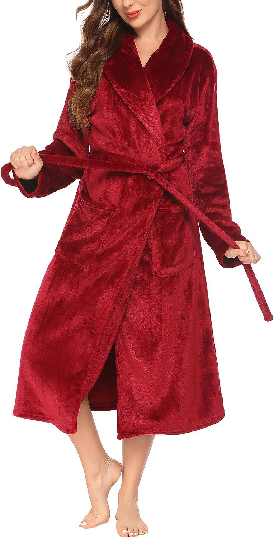 Ekouaer Fleece Robe Women Thick Bathrobe Plush Shower Robes Soft Lounge Robe Classic Winter Robe Warm Sleepwear