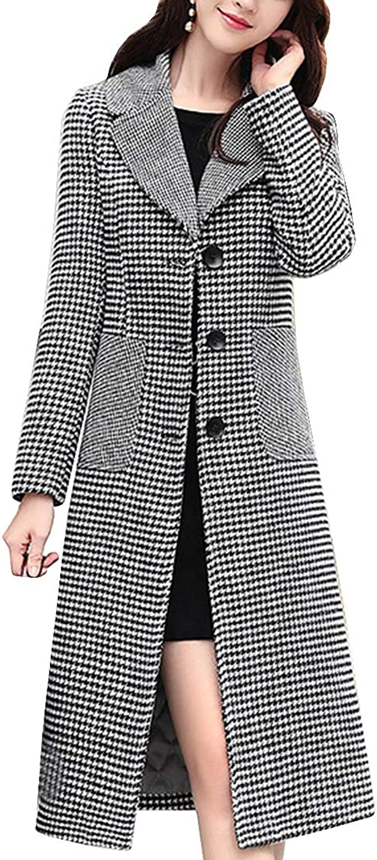 MFrannie Women Vintage Plaid MidLength Jacket Single Breasted Slim Fit Overcoat