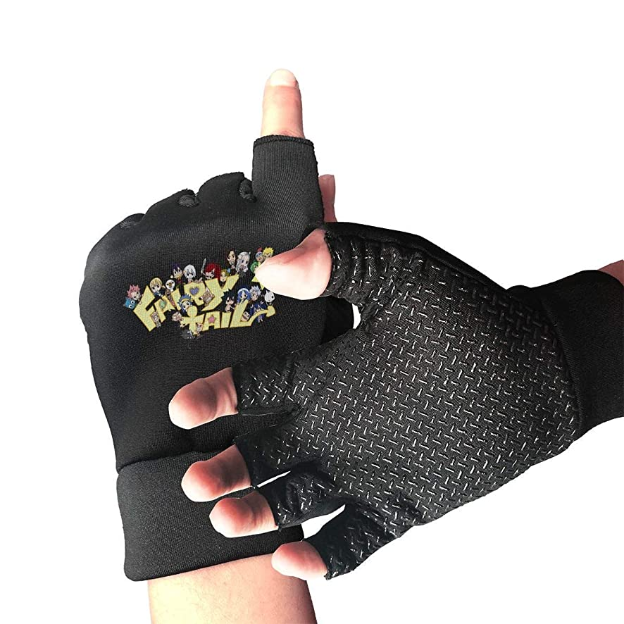 Unisex Fingerless Gloves Fairy Tail Sports Semi Half Finger Mittens for Cycling Climbing Fitness Computer Typing Daily Work