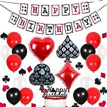 Decoraciones para Fiestas de Casino - Banner de Feliz cumpleaños con temática de póker, confetis y Globos para la Noche de Casino Suministros para Fiestas en Las Vegas