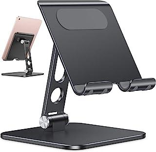 Upgraded Adjustable Tablet Stand Holder - OMOTON iPad Stand Holder with Heavier Base, Heavy Duty Aluminum Foldable Desktop...