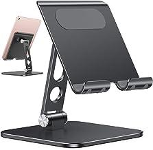 پایه نگهدارنده قرص قابل تنظیم ارتقا یافته - پایه نگهدارنده iPad OMOTON با پایه سنگین تر ، پایه سنگین آلومینیومی تاشو رومیزی رومیزی سازگار با iPad Air / Pro / Mini و تلفن ها ، سیاه