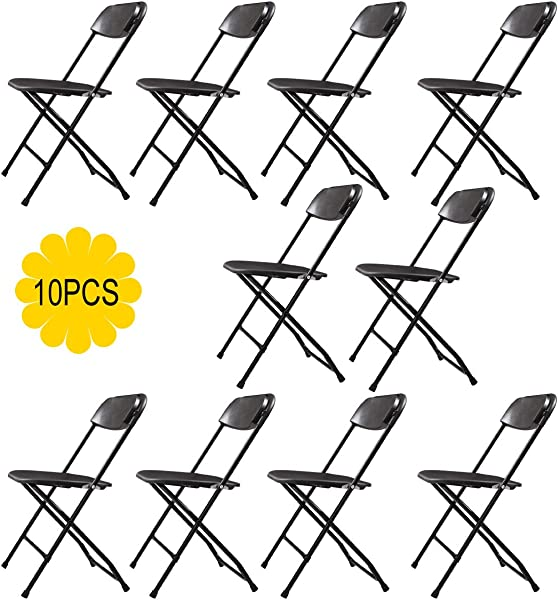 AVGDeals Set Of 10 Folding Chairs Heavy Duty Steel Frame Plastic Commercial Wedding Party Suitable For Wedding Ceremonies Banquet Halls Catering And Conversion