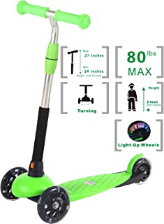 Voyage Sports Kids Scooter for Toddlers, 3 Wheel Kick-Board with Light Up, Adjustable Height, Boys and Girls Ages 3 Years Up, Green