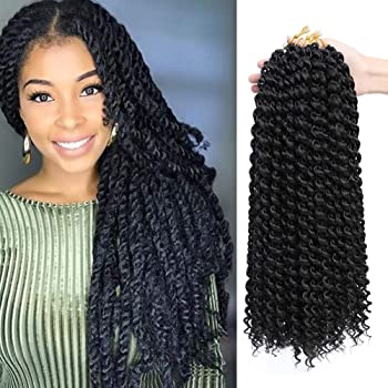 Dansama 7 Packs Passion Twist Hair Water Wave Braiding Hair for Butterfly Locs Crochet Braids Hair Extensions (18inch, 1B, Total 154 strands)