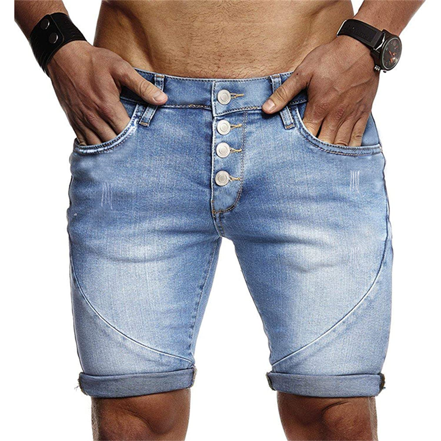 Men's Summer Casual Ripped Short Jeans Fashion Slim Fit Distressed Denim Shorts Stretch Skinny Jeans Shorts with Hole (Large,Blue)