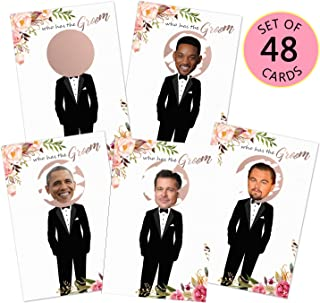 MORDUN Floral Bridal Shower Games - Who Has the Groom Scratch Off Celebrity Cards Tickets for 48 Guests - Funny Bachelorette Party Games Ideas - Rose Gold White