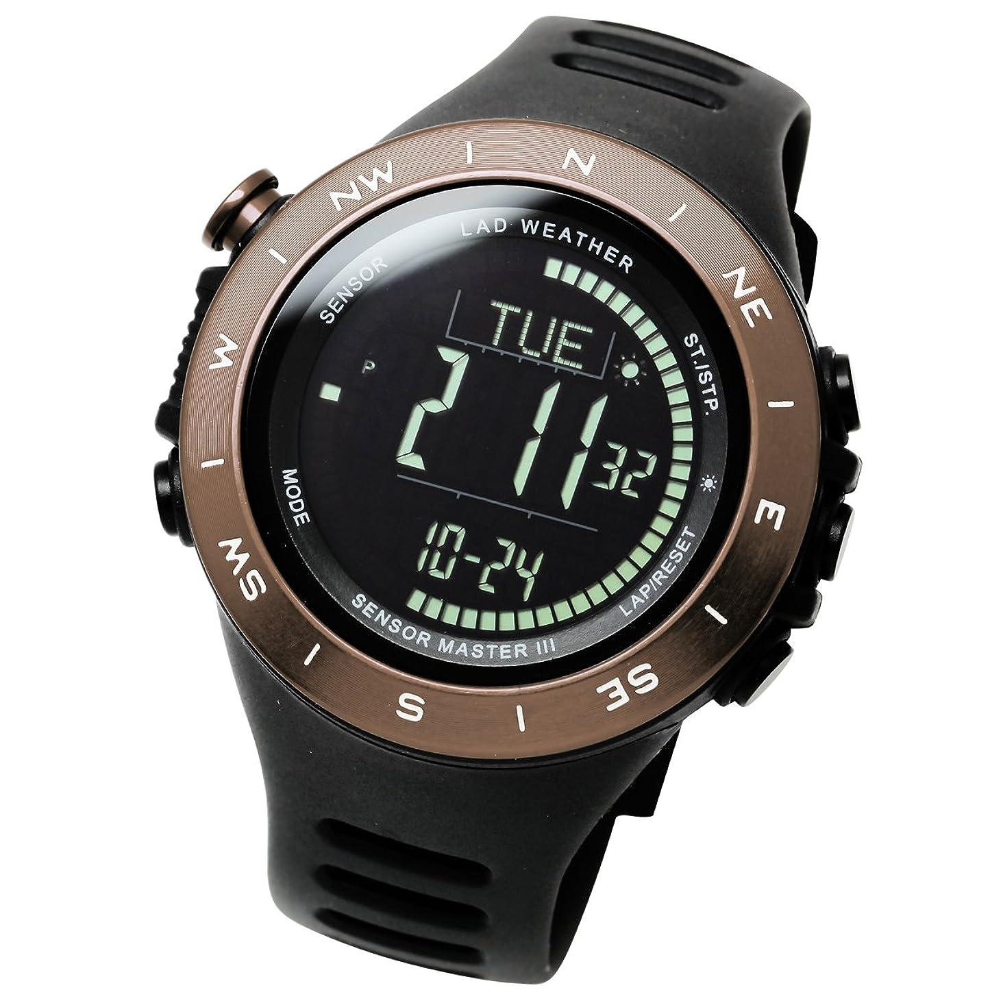 グリットキウイアレルギー[ラドウェザー]トレッキング腕時計 高度計 気圧計 気温計 天気予測 デジタルコンパス アウトドアウォッチ lad024