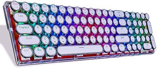 Lindon-Tech Bluetooth Mechanical Keyboard with RGB Backlit, Crystal Mechanical Keyboard, Retro Vintage Typewriter Style Ke...