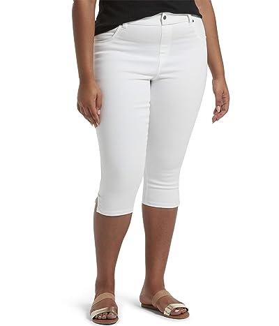 HUE Plus Size Ultra Soft Denim High-Waist Short Capris (White) Women