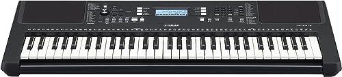 Yamaha PSR-E373 Clavier arrangeur, noir – Instrument de musique polyvalent à 61 touches dynamiques – Clavier portable...