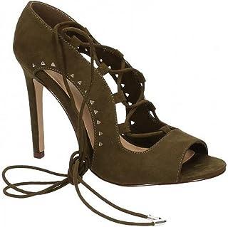 Spot On Womens/Ladies Side Slit Peep Toe High Heel Shoes
