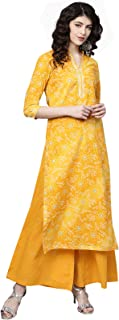 Ishin Women's Cotton Yellow Printed A-Line Kurta Palazzo Set