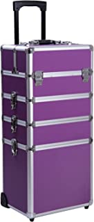 Ollieroo 4 in 1 Aluminum Rolling Cosmetic Makeup Train Cases Trolley Professional Artist Train Case Organizer Box Lift Handle Lock 2 wheel 2 Keys Each Layer Total 8 Keys Purple