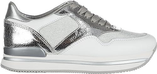 Hogan Chaussures paniers paniers Femme en Cuir h222 Sportivo XL Allacciato bian