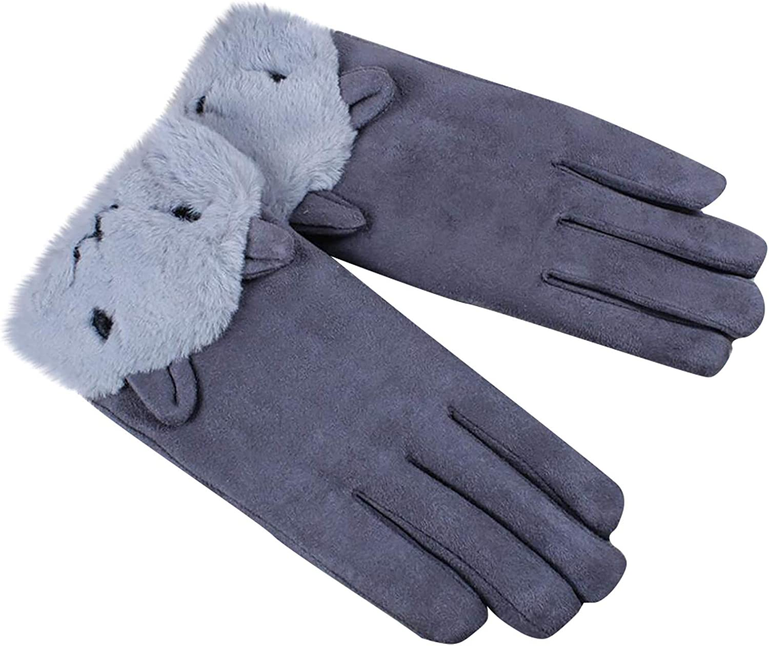 Womens Thicken Gloves Warm Winter Hand Warmer Riding Gloves with Cute Animal Trim Plush Full Finger Gloves with Fur Trim