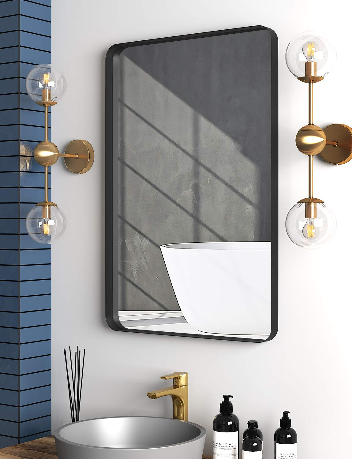 Rectangle Metal Frame Wall Mirror For Bathroom 24 X 36 Inch Wall Mounted Vanity Mirror Rounded Corner Black Frame Buy Online In Cayman Islands At Cayman Desertcart Com Productid 216396067