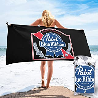 Hong Yi Fang Pabst Blue Ribbon Microfiber Pool Beach Towel - Quick Fast Dry Sand Free Proof Oversized Extra Large Big Outd...