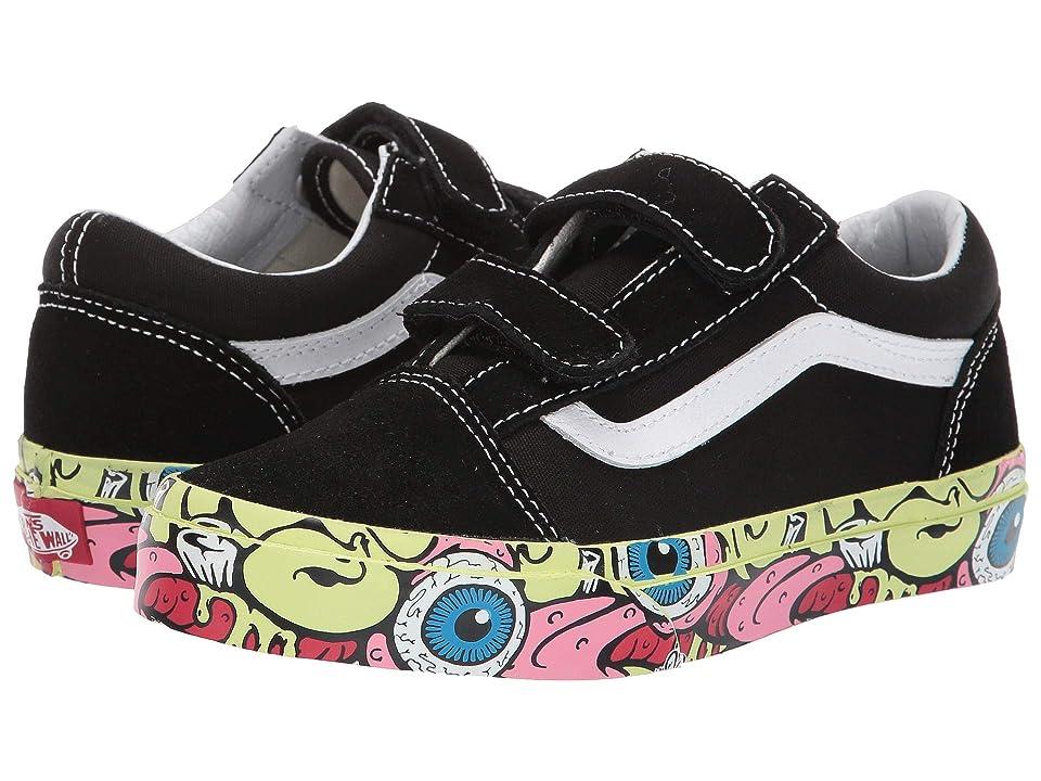 Vans Kids Old Skool V (Little Kid/Big Kid) ((Brain Wall) Black/True White) Boys Shoes