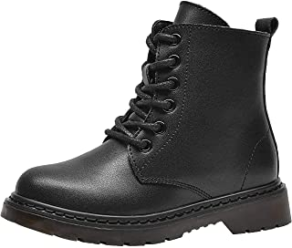 PPXID Boys Girls Leather Hiking Boots Lace-Up and Side Zip Short Combat Boots Snow Boots
