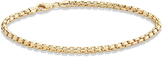 Miabella Solid 18K Gold Over Sterling Silver Italian 3.5mm Square Rolo Link Round Box Chain Necklace Bracelet for Men Women 8, 8.5, 9, 16, 18, 20, 22, 24, 26, 30 Inch 925 Made in Italy