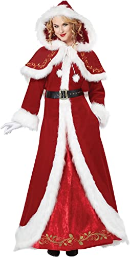 Deluxe Classic Mrs. Claus Fancy dress costume Small
