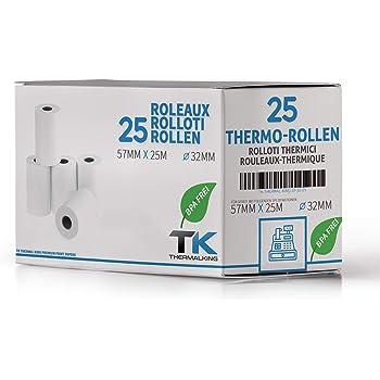 #5xAdditionsrolle 57mmx25m Cash-Rolle Thermo 1fach mit Druck