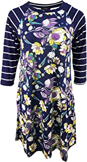 Plus Size Dresses Women 3/4 Sleeve Floral Shift A Line T Shirt Dress with Pockets