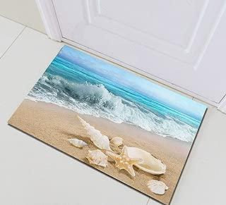 Sandy Beach Starfish Conch Shell Sea Wave Bathroom Rug,Indoor Non-Slip Door Mat,Children's Bathroom Carpet,15.7X23.6 in,Bathroom Accessories