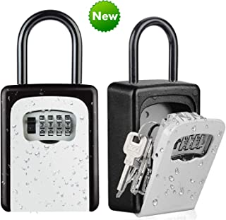 Key Lock Box, Wall Mounted Outside Combination Key Safe Box, Combo Door Locker, Weatherproof, 6 Key Capacity, Lockbox with Code for House Key Storage, for Home, Office, School Spare Keys