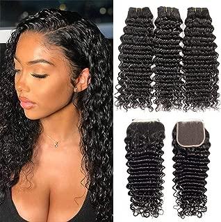 9A+ Brazilian Deep Wave Human Hair 3 Bundles with Lace Closure 4X4 Free Part 100% Unprocessed Brazilian Deep Cruly Hair Weave Bundles Natural Color(12'' 14'' 16'' + 10 Closure)