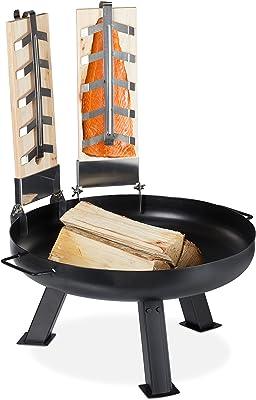 Relaxdays Planche de cèdre avec brasero, x2, Bois, bac à feu en Fer 60 cm, Set Saumon à Griller, Jardin, terrasse, Noir