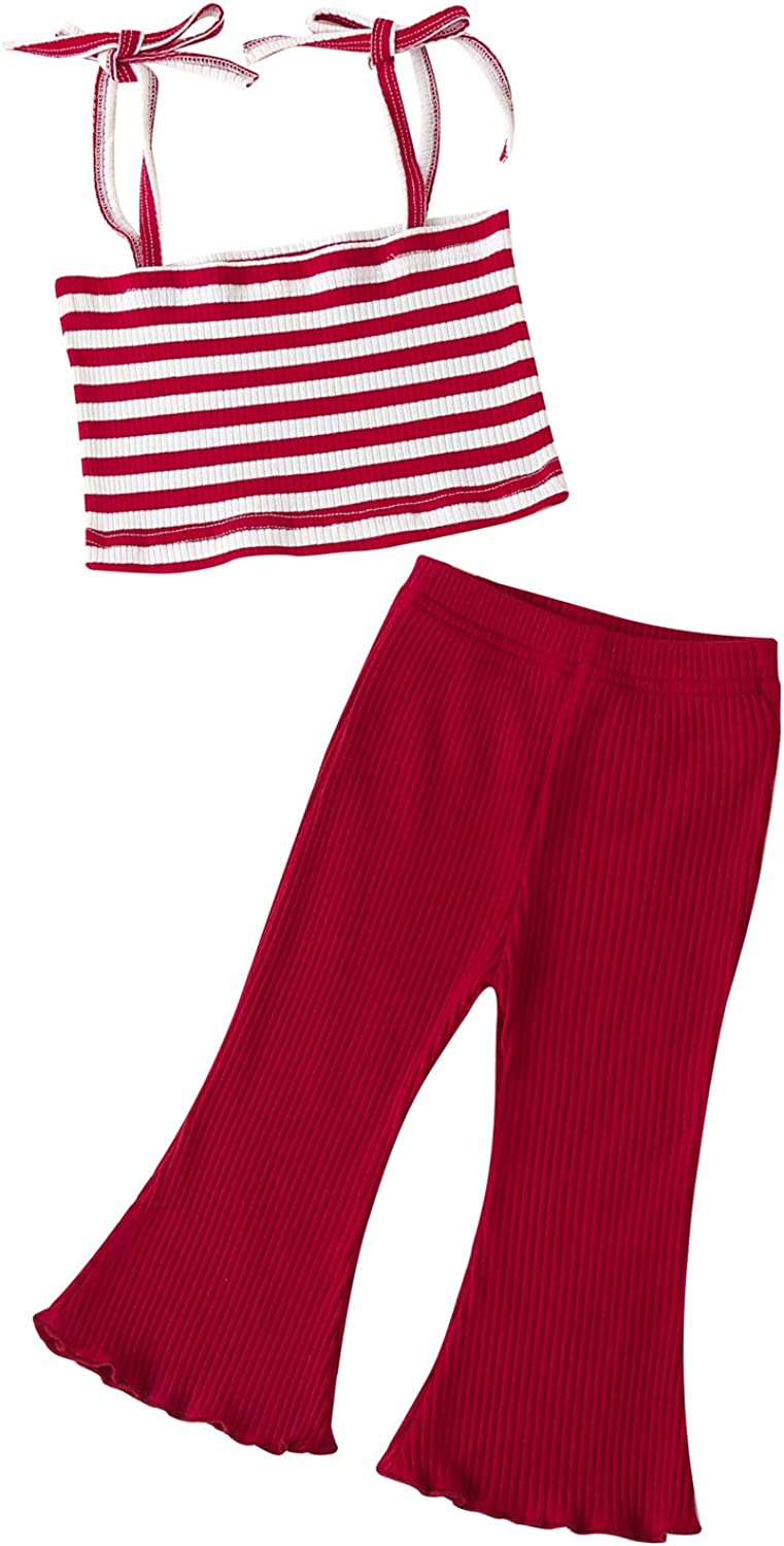 Toddler Infant Baby Girls Clothes Stripe Halter Sleeveless Crop Cami Top + Ribbed Bell-Bottomed Pants 2Pcs Summer Outfit
