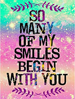 Leyzan 5D Diamond Painting Letter Full Drill Paint with Diamond Art, So Many of My Smiles Begin with You Painting by Number Kits Embroidery Rhinestone Wall Home Decor 30x40cm (12