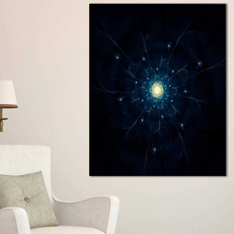 Designart PT121522040 Glowing Fractal Flower On Black Floral Canvas Artwork Print, bluee, 20x40