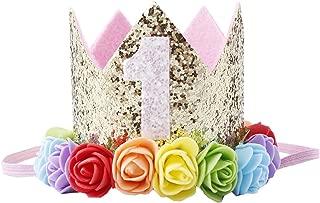 Love Sweety Baby Rose Flower Golden Crown Birthday Headband Hair Accessories