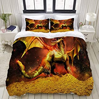 """Mokale Bedding Duvet Cover 3 Piece Set - Red Dragon in a Pile of Gold - Decorative Hotel Dorm Comforter Cover with 2 Pollow Shams - Queen 90""""x90"""""""