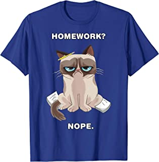 Grumpy Cat Homework Nope Back To School Graphic T-Shirt