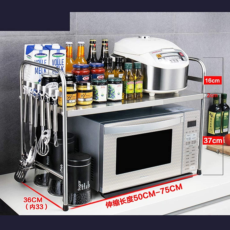 BJLWT Retractable Rack Stainless Steel Double-Layer Kitchen Rack Floor Countertop Storage Rack 53  36  35cm (color   A)