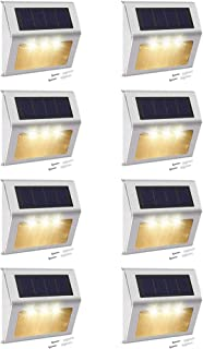 Solar Step Lights with Larger Battery Capacity JACKYLED 8-Pack Stainless Steel 3 LED Solar Powered Deck Lights Weatherproo...