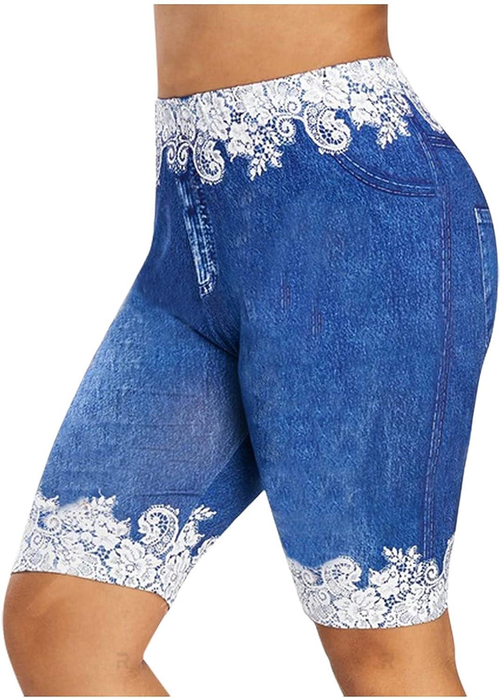 KOPLTYRFG Shorts Women High Waist Cropped Jeans Denim Stretch Shorts