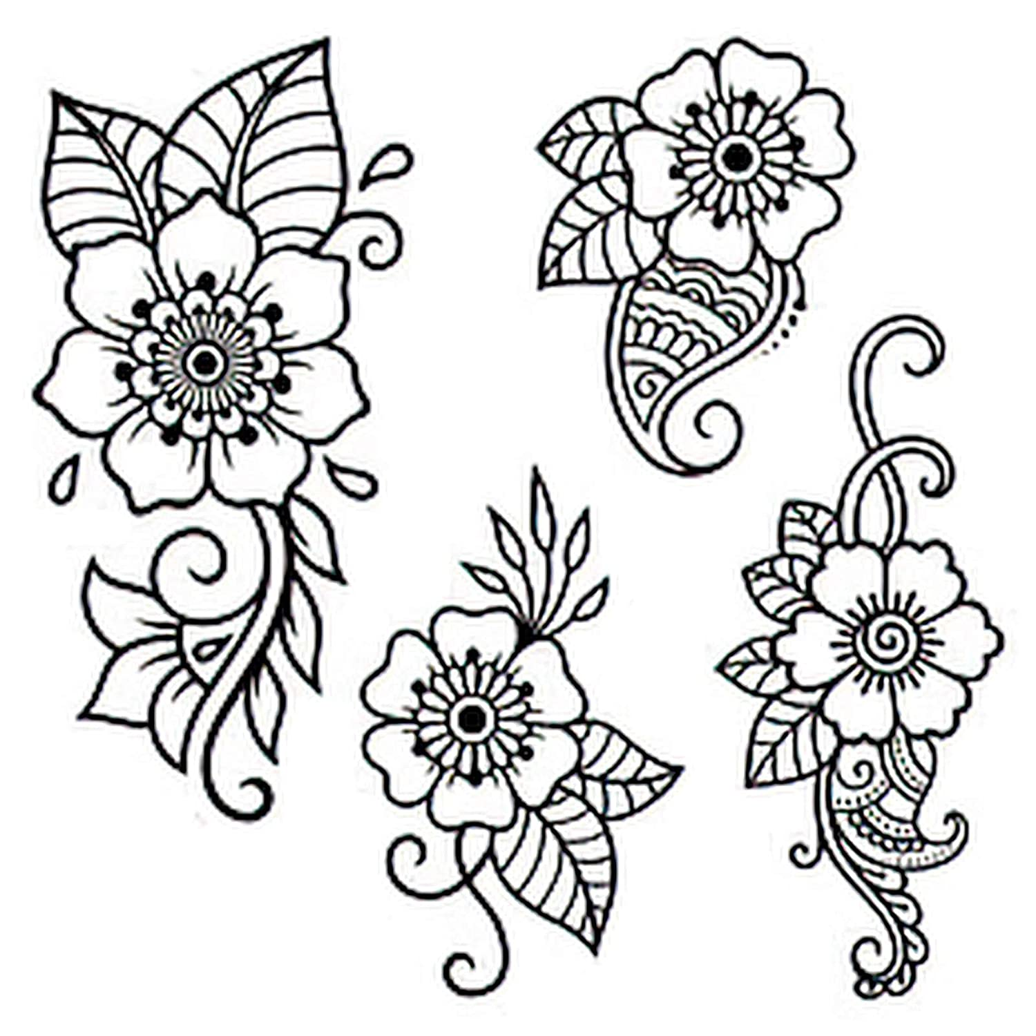 Six Sheets Temporary Tattoos for Flower Adults At the Outlet ☆ Free Shipping price Mehndi Women